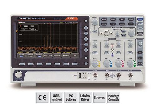 GW-INSTEK MDO-2074EX 70MHz, 4-channel, Digital Storage Oscilloscope, Spectrum analyzer, dual channel 25MHz AWG, 5,000 counts DMM and power supply